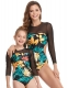 Long Sleeve Mesh Patchwork Printed Parent-Child Swimsuit