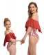 2-Pieces Halterneck Parent-Child Swimwear with Ruffles