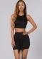 Sexy High Quality Two Pieces Women Sleeveless Bodycon Dress Black