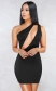 Women Black Sexy One Shoulder Hollow-out Bodycon Dress